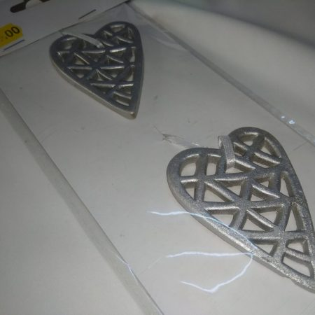 Inima cu agatatoare 6,8×4,8×0,5cm argintiu
