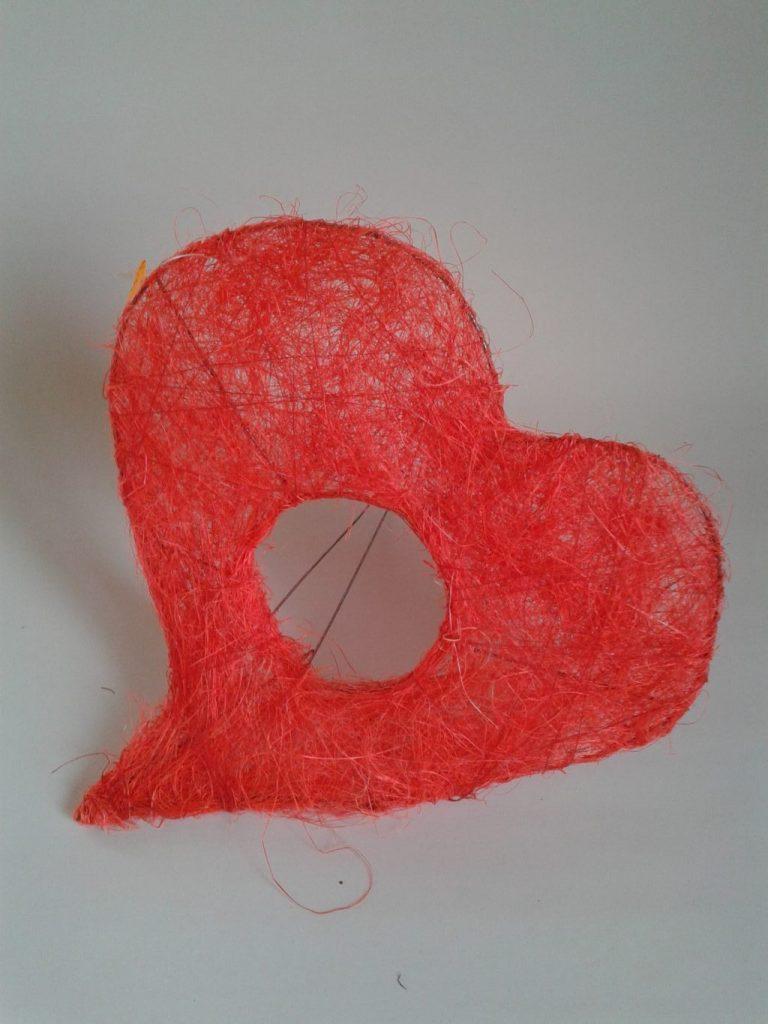 Suport buchet sisal-inima 20cm/25cm -