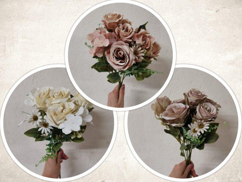 Buchet trandafir si hortensie