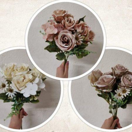 Buchet trandafir si hortensie 41 cm