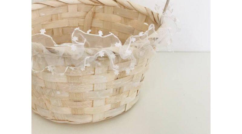 Cos bambus cu dantela -