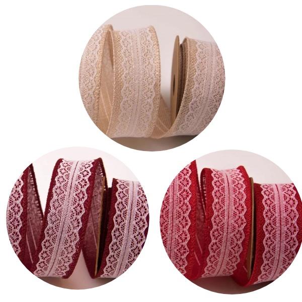 Panglica decorativa iuta - dantela cu intaritura de sarma 4cm X 5m