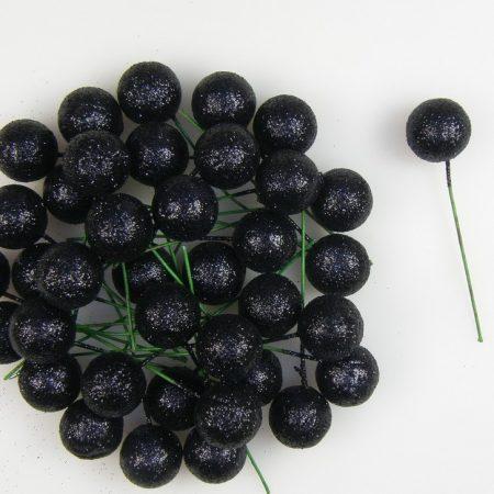 Pick globulete negru cu glitter 220 buc/pachet