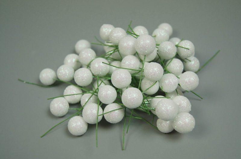 Pick globulete alb cu glitter2 60 buc/pachet