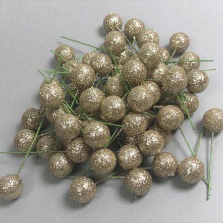 Pick globulete sampanie cu glitter 60 buc/pachet