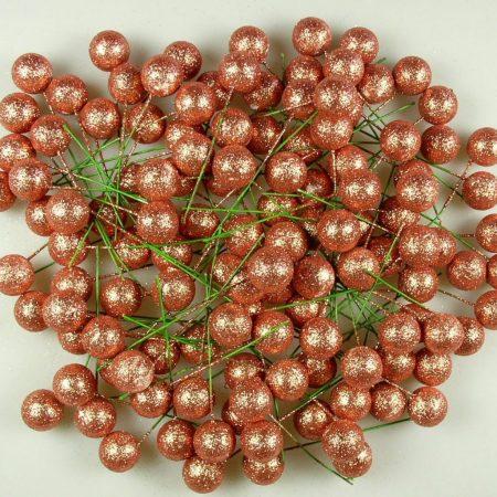 Pick globulete bronz cu glitter 125 buc/pachet