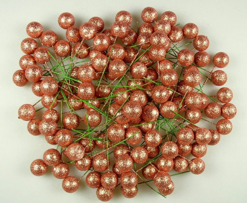 Pick globulete bronz cu glitter 125 buc/pachet -