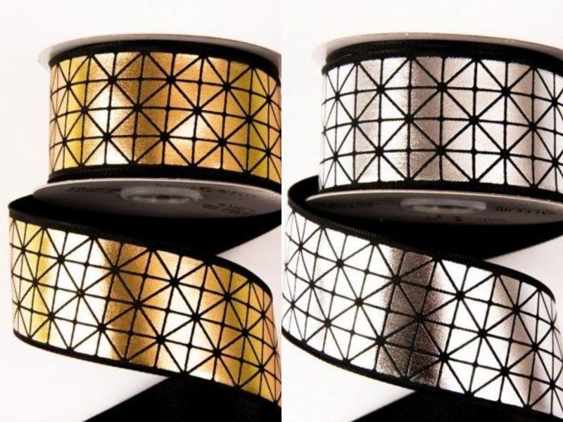 Rola saten premium 38 mmx 6.4 m model geometric
