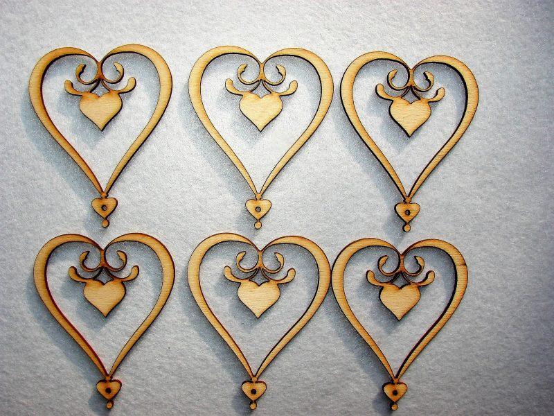 Inimioare din lemn natur 6buc