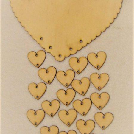 Set Inima cu inimioare din lemn 20 buc