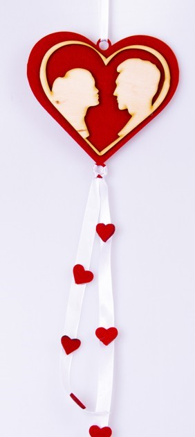 Inima din lemn decorativa 14x50 cm