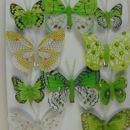 Fluturi cu cleme verzi 5cm