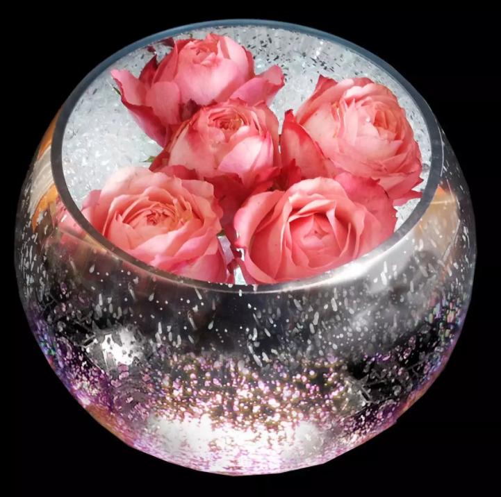 Vaza rotunda luminoasa cu inserite metalica 2