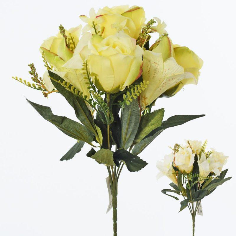 Buchet trandafiri si crin 29 cm