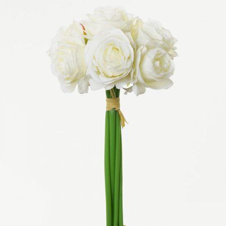 Buchet mini trandafiri 27 cm alb