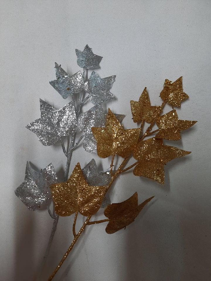 Frunza cu glitter 25 cm -