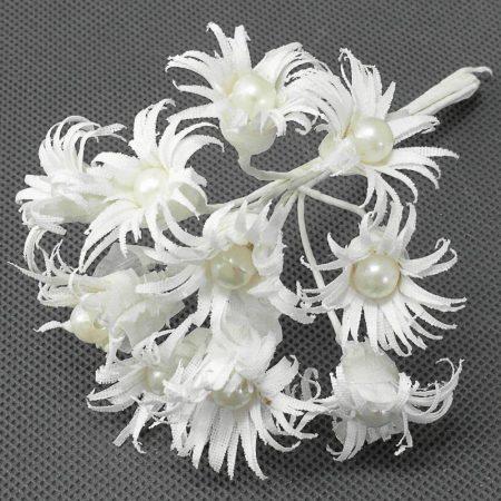 Mini buchet flori albe cu perle 1buc