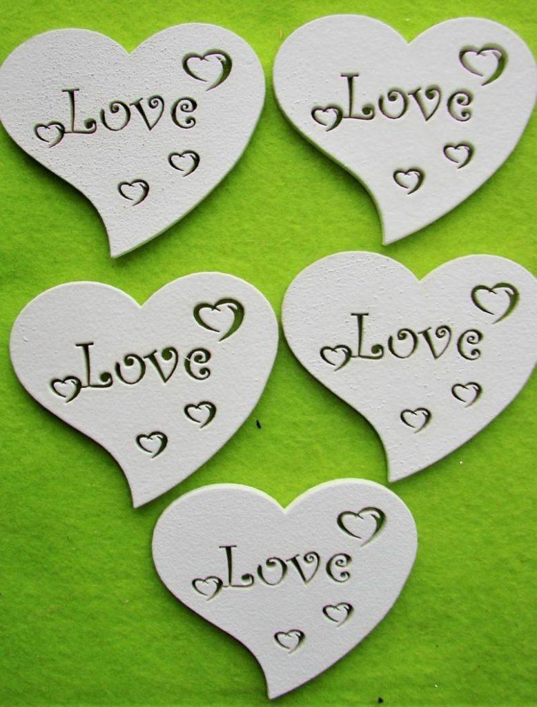 Inimioare din lemn -Te iubesc- 5 buc -